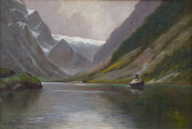 A. Dressler - Steamer on the mountain lake