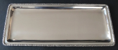 Rectangular, low, silver tray - decorative border