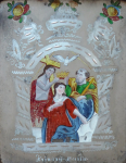 Podmalba na zrcadlovém pozadí - Korunování Panny Marie