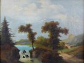 Romantic landscape with sluice, path and building