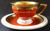 Coffee cup, red, gilded - Rosenthal, Maria