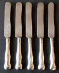 Five silver dessert knives - Prague 1870 - 1880