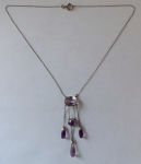 Silver necklace with amethysts