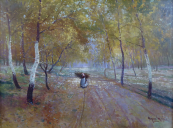 Antonin Augusta - A sunny path with a woman collecting branches