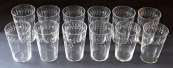 Twelve glasses with a cut Art Nouveau motif