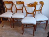 Čtyři židle, biedermeier, třešňové, s řezbičkou