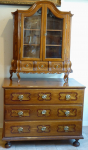 Oak inlaid chest of drawers, with extension - 18th century