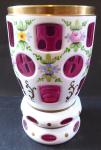 Pohár, sklenice, s malovanými květy - bílé a světle fialové sklo