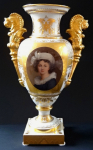 Gilded vase with painted miniature - signed Eibel