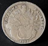 Stříbrná mince, brož - Bavorsko, rok 1779