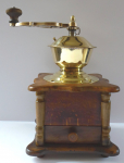 Wooden coffee mill, with brass hopper