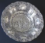 Kulatá velká stříbrná dekorativní mísa - styl Hanau, Německo