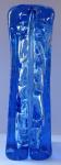 Modrá hranolovitá váza, se vzduchovými bublinami - Škrdlovice