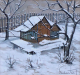 Chata v zimě - signatura nečitelná