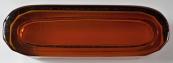 Oválná miska se zlaceným pásem - ambrové sklo