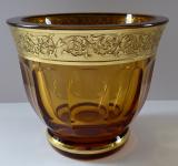 Miska z ambrového skla - zlacený reliéf