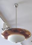 Kruhový měděný a chromovaný lustr - Franta Anýž