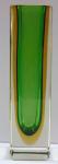 Hranolovitá vázička, zelená a žlutá lazura - Murano