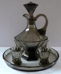 Karafa, čtyři skleničky, podnos - kouřové sklo, art deko