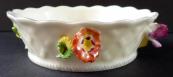 Porcelánová kulatá mistička, reliéfní květy - Drážďany