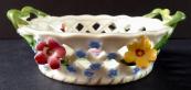 Porcelánový košíček, s květinami - Dresden
