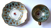 Moka šálek, červený květ a modré listy - Slavkov