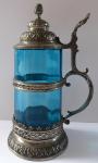 Cínový korbel s modrým sklem