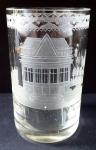 Biedermeierová sklenice, rytá, s motivem altánu