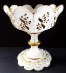 Biedermeierová miska na nožce, alabastrové a zlacené sklo
