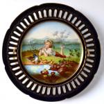 Malovaný kobaltový talíř - Chlapec s kachničkami