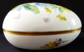 Porcelánové vajíčko, žluté a modré květy - Míšeň