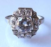 Art deko prsten z bílého zlata a brilianty - 1,55 ct
