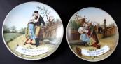 Dva ručně malované talíře, motivy z opery Prodaná Nevěsta