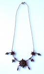 Zlacený stříbrný náhrdelník, s českými granáty a almandiny
