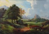 Romantická krajina s hradem 1870 - 1890