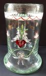 Džbánek ze světle zeleného skla - lidový ornament