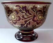 Mísa z rubínového a zlaceného skla - leptané květiny