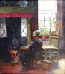 Carl Duxa - Severoněmecká dívka sedící u krbu