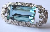 Art deco brož, přívěsek, 38 diamantů 1,5 ct - akvamarín 54,5 ct