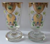 Dvě skleničky z květy a plody, zlacené