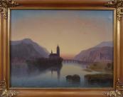 Podvečerní romantická krajina s řekou