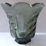 Art deko váza, kouřové sklo - Rudolf Hloušek