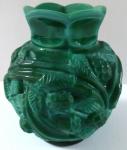 Malá vázička, sklo Jade - Plody a listy