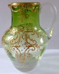 Malý džbánek, zelené a čiré sklo - zlacený ornament
