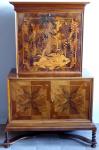 Bar se skříňkou, intarzie s exotickým motivem - Art Deko