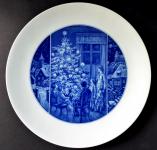 Míšeňský kobaltový talíř, s vánočním motivem