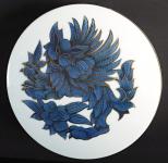 Velká porcelánová dóza, modrý lev - Rosenthal