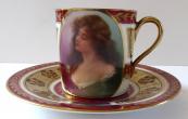 Moka šálek s portrétem dívky - Habsburg porcelain