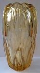 Art deko váza, broušená, ambrové sklo