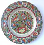 Malovaný dřevěný talíř, s lidovým květinovým vzorem